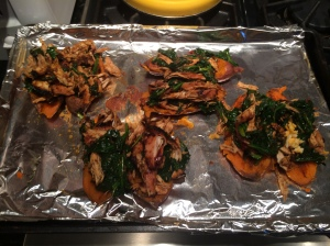 Fill the potatoes with the chicken, spinach, and chipotle sauce mixture.